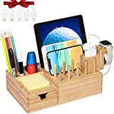 Bamboo USB Charging Station for Multiple Devices with iWatch&Airpod Stand | Fast Charge Docking Station&Organizer with 7 USB Ports for Smart Phones and Tablets, Storage Drawer, Pen Holders and Tag Pad