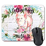 Gettin' Piggy with It Funny Pig Mouse Pad Pink Flowers on Faux Wood Mousepad Desk Accessories for Women Farmhouse D¨¦cor