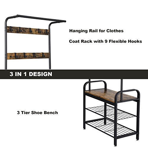 VASAGLE Industrial Coat Rack Shoe Bench, Hall Tree Entryway Storage Shelf, Wood Look Accent Furniture with Metal Frame, 3 in 1 Design, Easy Assembly UHSR40B