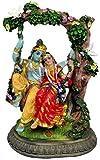 "Sweet Radha Krishna on Swing Statue 6"" Divine Couple Hindu Idol Golu Doll"