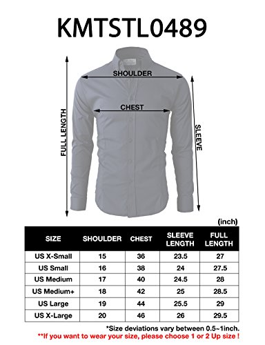 H2H Mens Button Down Dress Shirts Slim Fit Long Sleeve with Contrast Band Beige US XS/Asia M (KMTSTL0489)
