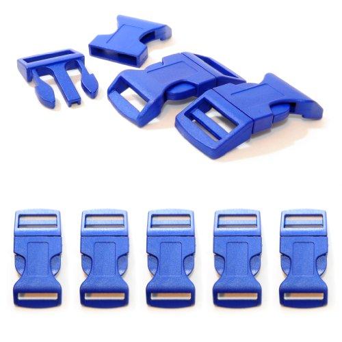 """Fermoir à clip en plastique, idéal pour les paracordes (bracelet, collier pour chien, etc), boucle, attache à clipser, grandeur: XL, 1"""", 65mm x 32mm, couleur: bleu foncé, de la marque Ganzoo - lot de 5 fermoirs"""