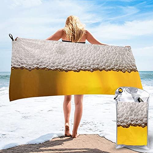 Toalla de baño de espuma de cerveza, toalla de gimnasio, toalla de playa, uso multiusos para deportes, viajes, súper absorbente, microfibra