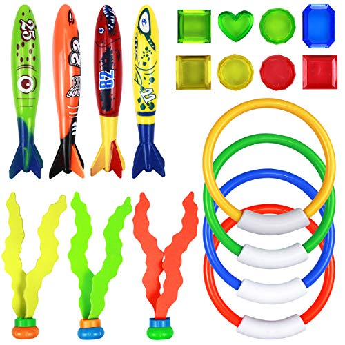 NATUCE 19Stk Tauchen Spielzeug, 4 Tauchringe, 4 Tauchtorpedos Toypedo Bandits, 3 Tauchen Algen, 8 Tauch Edelsteine, Pool Spielzeug, Tauchspielzeug für Kinder, Unterwasser Schwimmbad Spielzeug