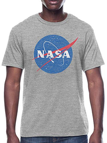 NASA Men's Classic Vintage Inspired Logo T-Shirt, Heather Grey, Medium