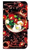 [ANDROID ONES6] スマホケース 手帳型 ケース デザイン手帳 アンドロイド ワン s6 8261-E. 泡沫幻想_椿 かわいい おしゃれ かっこいい 人気 柄 ケータイケース ゴシック