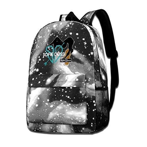 GDESFR Sofie-Dossi-Heart Galaxy Bolsas de hombro Mochila de cielo estrellado Mochila escolar Mochila de mochila para niños niñas al aire libre, color Gris, talla Talla única