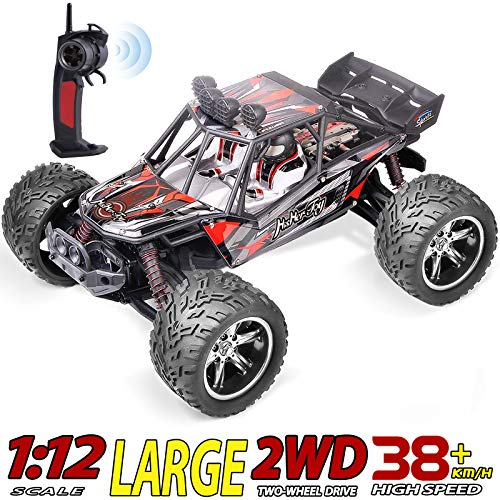 HisHerToy 1/12 Big Remote Control Cars for Boys 38+km/h Waterproof Fast RC Cars for Teens All Terrain Off Road RC Car for Adults 2.4GHz High Speed Hobby RC Buggy Crawler Monster Truck for Kids