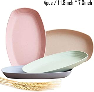Greenandlife Lightweight Wheat Straw Plates - 4Pack Unbreakable Dishes and Plates Sets Non-toxin, Dishwasher & Microwave Safe BPA free and Healthy for Kids Children Toddler & Adult (11'')