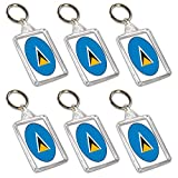 Schlüsselanhänger mit Saint Lucia-Flagge – Partytütenfüller – Veranstaltungen – Feiern – Sammler – Dekorationen – Sockenfüller (12 Stück)