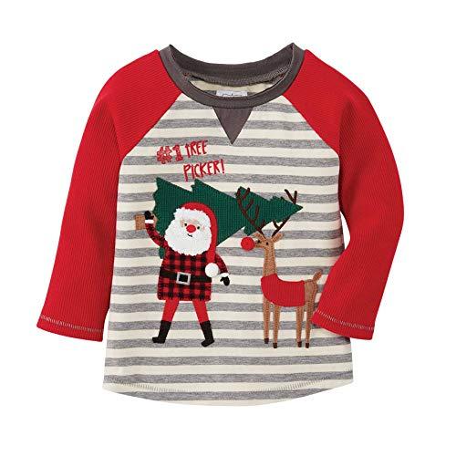 Mud Pie Baby Boys' Santa Reindeer TEE, Gray, 12-18 Months
