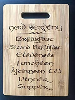 The Hobbit Seven Daily Meals Menu Board Second Breakfast Lord of the Rings Cutting Board Second Breakfast Tolkien LOTR Gift Fan Ringer Gandalf Engraved Bamboo LOTR Kitchen Art Wall Charcuterie Tray