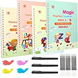 Magic Practice Copybook for Kids, Reusable Grooved Handwriting Practice Book for Kids - Magical Copybook with 15 Disappearing Ink Pen Refills & 4 Pencil Grips for Kindergarten kids Ages 3-6
