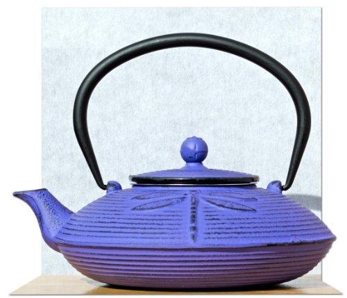 Gifts Of The Orient - Litro De Hierro Fundido Púrpura Libélula Té Pote Hervidor 0.8 Tetsubin Japonés Estilo