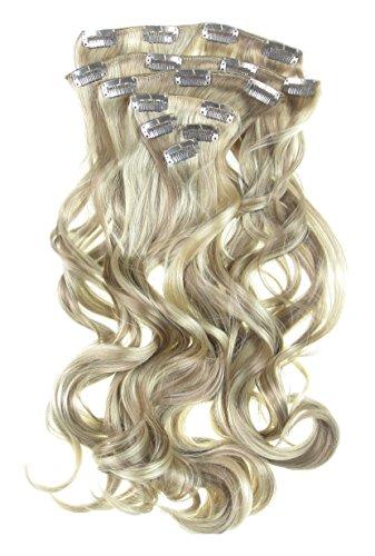 Toutes les couleurs disponibles, Extension De Cheveux Bouclée Mélange De Blond Doré Et Marron Chocolat 61 Cms De Longueur Vraiment Naturelle