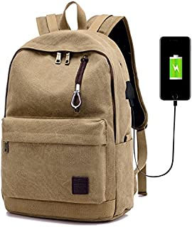 Canvas Backpack, Canvas Backpack USB Charging School Bag Simple and Stylish,Khaki