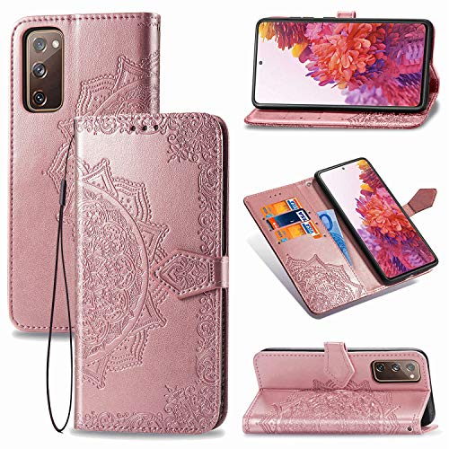 Urspasol for Samsung Galaxy S20 FE 5G Case Samsung Galaxy S20 Fan Edition Wallet Case Mandragora Folio Flip Stand Credit Card Slot Kickstand Magnetic Closure Cover Wrist Strap (Rose Gold)