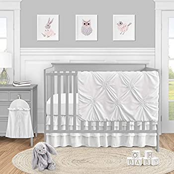Solid Color White Shabby Chic Harper Baby Girl Crib Bedding Set by Sweet Jojo Designs - 4 Pieces