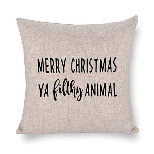 Blafitance Merry Chaistmas - Funda de almohada decorativa de lino con cita inspiradora, decoración rústica para el hogar, 35 x 35 cm