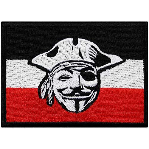 Flagge Aufnäher Germany Pirat deutsche Flagge Biker Patch Rocker Bügelbilder Flicken Heavy Metal Sticker zum aufnähen Männer-Geschenk DIY Applikation für Leder-Jacken/Kutten/Jeans/Taschen 90x65mm