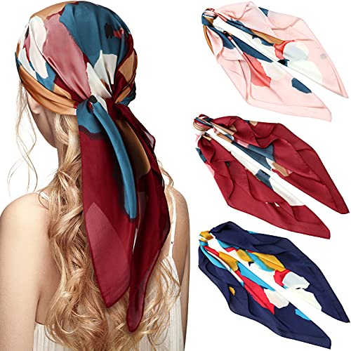 3 Pieces Satin Head Scarves Square Scarf Silk Like Hair Wrapping Scarves Sleeping Head Scarf Medium Square Neck Scarf for Women Girls, 27.6 x 27.6 Inches (Spot)