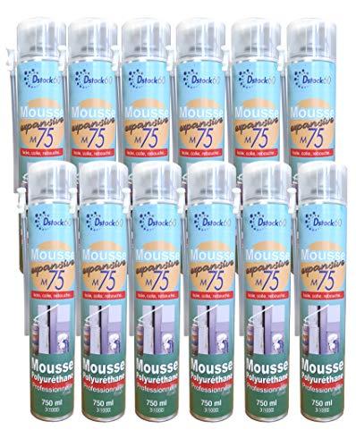 DSTOCK60 – Lote de 12 espumas poliuretano expansiva 750 ml – Espuma de poliuretano profesional – aislante, cola, rebote, exterior e interior