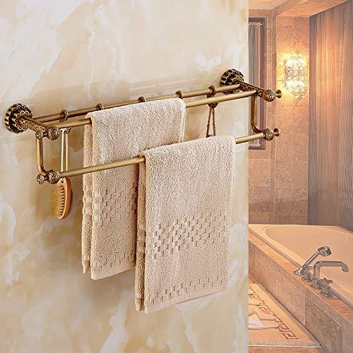 MBYW moderne minimalistische hoge dragende handdoek rek badkamer handdoekenrek Antiek Handdoek rek Koper Europese Handdoek Bar Double Action Hook Retro Vintage Badkamer Geschikt voor badkamer