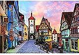 Rompecabezas Juguetes educativos para niños Adultos, Rothenburg, Alemania, Juguetes de Rompecabezas de Madera, 1000 Rompecabezas, Juegos de Arte para Adultos y niños HUAHUA00