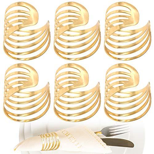 JJQHYC Ausgehöhlte Serviettenringe Golden, Metall Serviettenhalter Tischdeko Elegant Modernes (6 pcs)