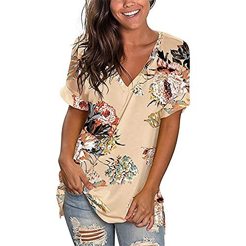 Camisetas de Mujer Tops de Verano Camiseta de Manga Corta con Cuello en V Tops básicos Casuales Blusa Estampada para Mujer Camiseta con Cuello en V de Verano de Tops de túnica con Estampado Floral