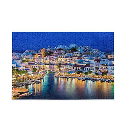 ISAOA Rompecabezas de 500 piezas para niños y adultos, Agios Nikolaos Creta Grecia Puzzle con bolsa de almacenamiento