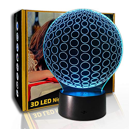 JINYI Fútbol creativo de luz nocturna 3D, lámpara de ilusión LED, regalo de amigo, A- Touch negra Base (7 colores), Regalo de Navidad, Lámpara para dormir