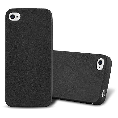 Cadorabo Coque pour Apple iPhone 4 / iPhone 4S en Frost Noir - Housse Protection Souple en Silicone TPU avec Anti-Choc et Anti-Rayures - Ultra Slim Fin Gel Case Cover Bumper