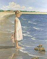 大人の子供のためのジグソーパズル500ピースパズル海沿いのビーチの小さな女の子木製パズル教育知的減圧楽しいゲーム52cmx38cm