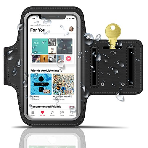 Water Resistant Cell Phone Armband, GreatShield [FIT] 6 inch Sport Case for iPhone XS X 8 7 6 6s, Galaxy S9 S8, Google Pixel 3 - Adjustable Sweatproof Pouch w/ Key Holder for Gym Running Exercise