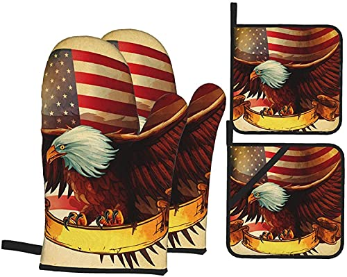 MODORSAN American Flag Eagle - Juego de 4 Manoplas y Soportes para ollas, Almohadillas Calientes Resistentes con Guantes de poliéster Antideslizantes para Barbacoa para Cocina, cocinar, hor