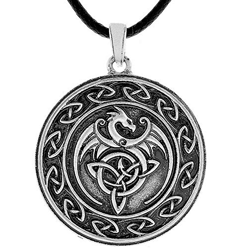 HAQUIL Dragon Necklace - Metal Alloy, Celtic Dragon Medallion Pendant - PU Leather Cord, 19.7'
