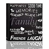 ARPAN Familia, Amigos, Viajes de Vacaciones, Memoria, con área de Escritura de Notas y Texto Decorativo, Compatible con 200 Fotos de 10 x 15 cm, Negro, Album Size : 23 x 4.5 x 22.5 cm Approx