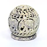 Stylla London Soapstone Votive Tealight holderwith Elephant Figures and Tendrils Carved on the Side and a Rosette on the Top 4 x 35 Inches
