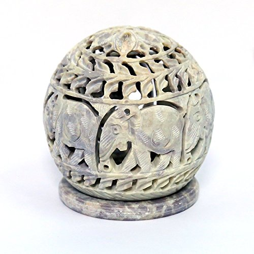 Stylla London® Soapstone Votive Tealight holderwith Elephant Figures and Tendrils Carved on...