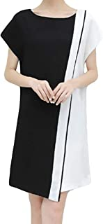 Youmymine Women Short Sleeve Dresses Fashion Business Belt Casual Crew-Neck Knee Length Evening Party Dress