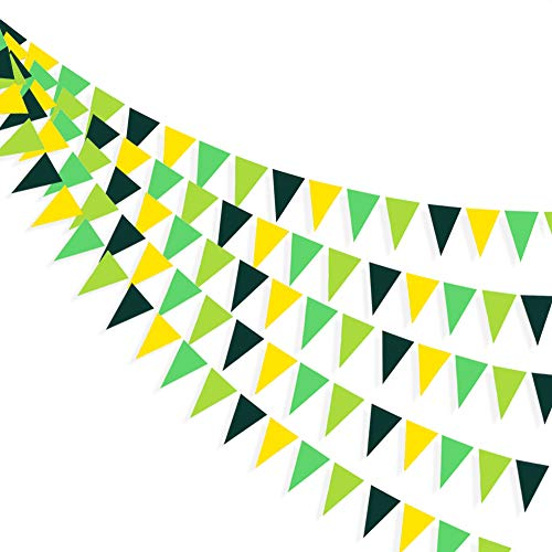 30 Ft Yellow Green Party Decorations Hanging Paper Triangle Flag Pennant Banner Bunting Garland for Bachelorette Engagement Birthday Wedding Baby Bridal Shower Anniversary Garden Tea Party Supplies