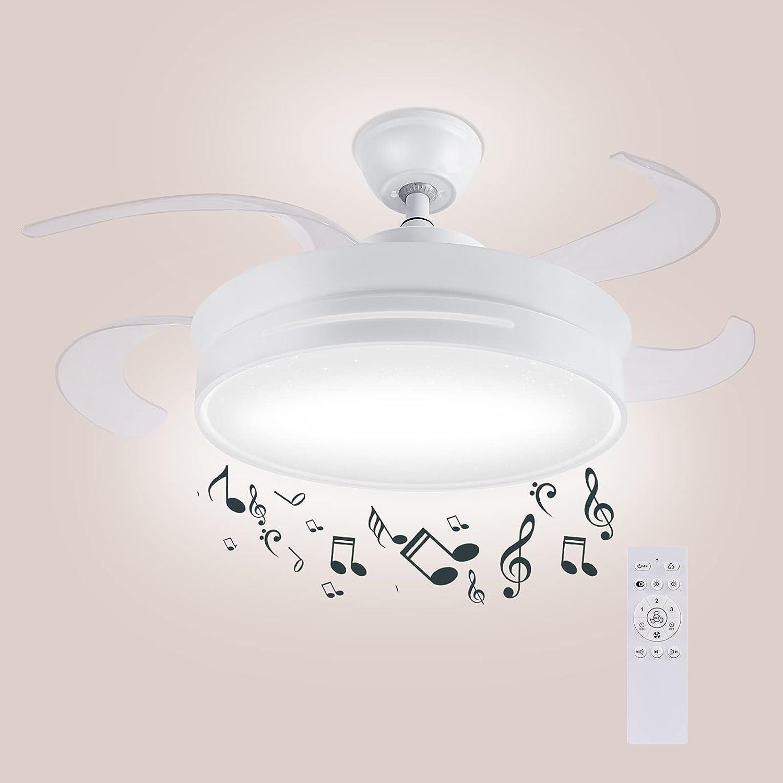 HOREVO 36W Moderno Ventilador de techo con lámpara y Altavoz Bluetooth, LED Lámpara Regulable de techo Música con Control Remoto y RGB, Fácil Instalación, Para Sala de Estar, Restaurante