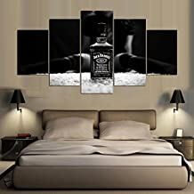 PEACOCK JEWELS [Medium] Premium Quality Canvas Printed Wall Art Poster 5 Pieces / 5 Pannel Wall Decor Jack Daniels Painting, Home Decor Pictures - Stretched