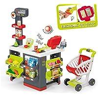 Smoby 350213 Supermarkt - Carrito de la Compra, Color Gris y Verde