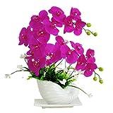 DICSVL Phalaenopsis Simulación Sistema de Flores Adornos para decoración de Oficina Interior o exhibición de Día de San Valentín Centros de Mesa Decoraciones Día de la Madre Regalos