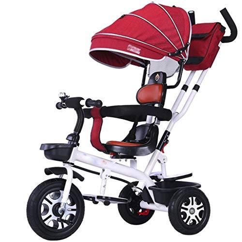 LOMJK Carritos y sillas de Paseo El Triciclo Ajustable del Triciclo de los niños con el Carro del Cochecito del Bolso de la Momia del toldo Conveniente for 1~6 años Bebé Sillas de Paseo