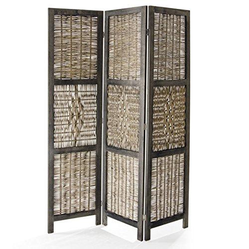 VERDELOOK Paravento Norma a 3 Ante in Legno e Bamboo Intrecciato, 132X6x170 cm