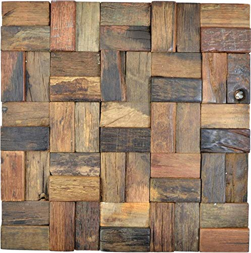 Holz Mosaik Parkett boot OLD Wood Holz FSC Wand Küche Bad Fliesenspiegel|WB160-25|1Matte
