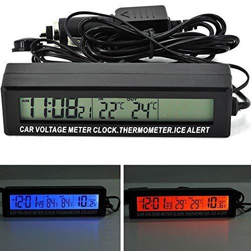 PolarLander 3-en-1 Car LCD Digital Display Reloj Voltímetro Termómetro Durable Batería Voltaje Medidor de Temperatura del Monitor